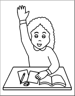 Raise Your Hand Clipart Black And White.
