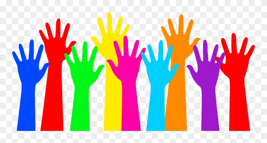 Rainbow Colored Raised Hands Clipart (#76182).