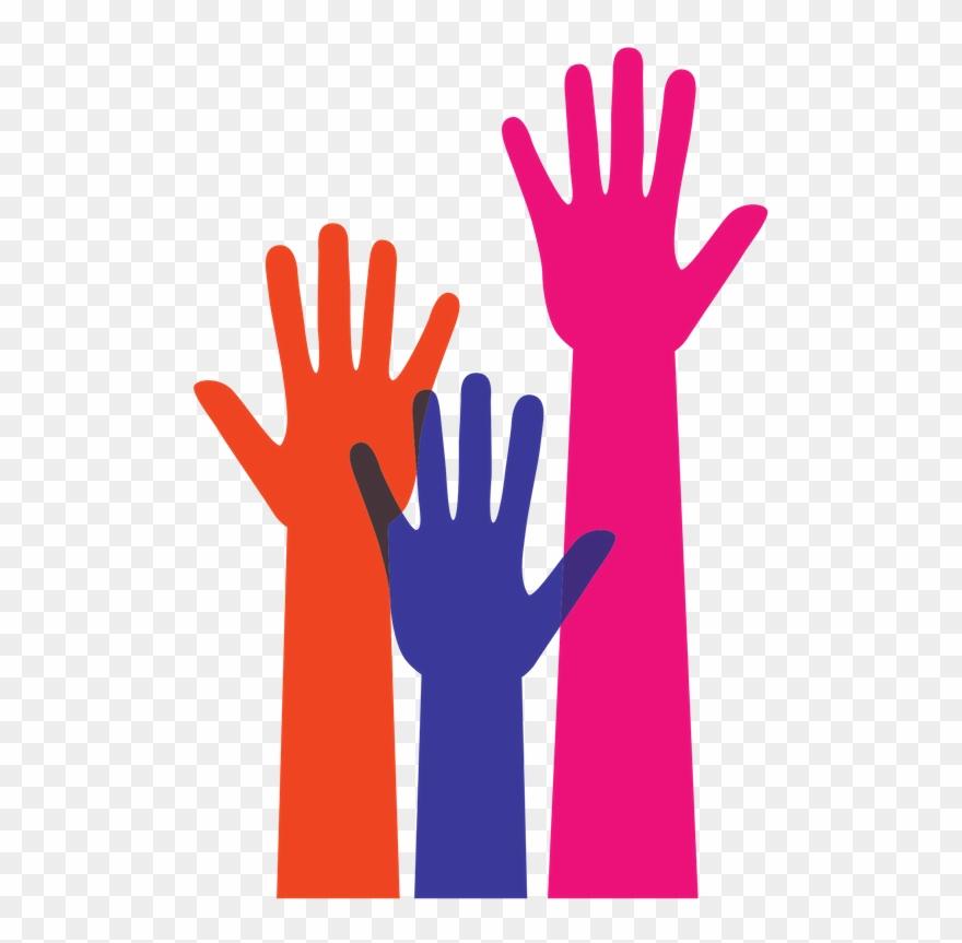 Orange, Purple, And Pink Raised Hands.