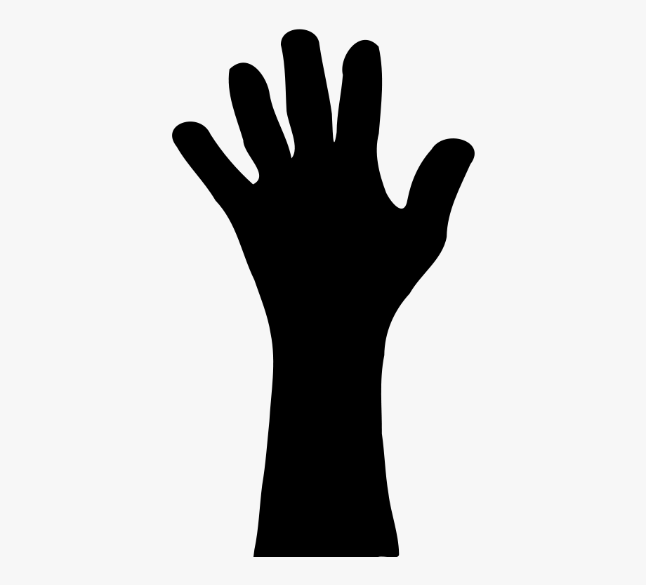 Raised Hand In Silhouette Vector Clip Art Download.