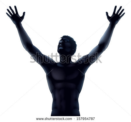 Illustration Man Silhouette Hands Arms Raised Stock Vector.