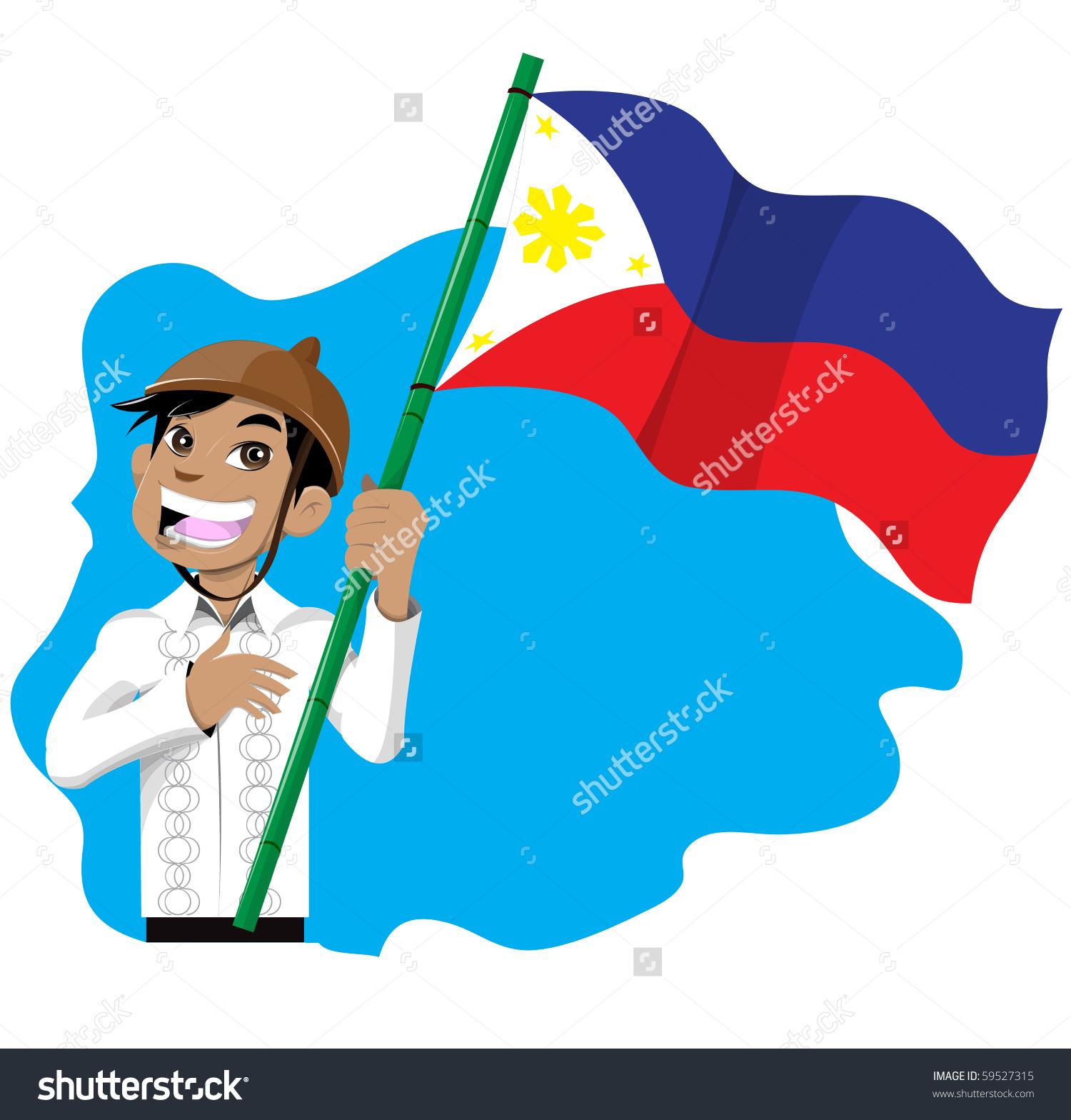 Happy Asian Boy Holding Philippines Flag Stock Illustration.