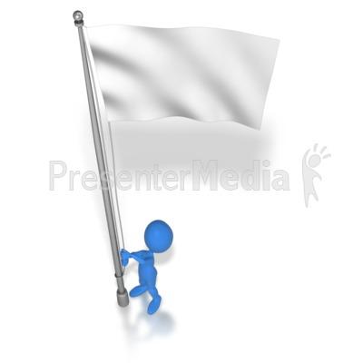 Stick Figure Raising Flag.