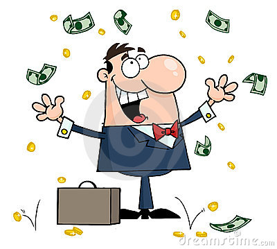 Winning Man Under Falling Money Royalty Free Stock Photos.