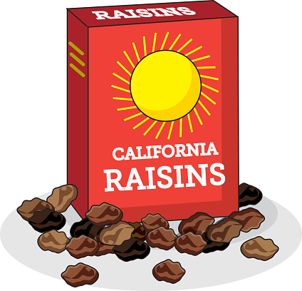 Box of raisins clipart.