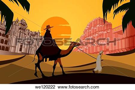 Stock Photo of Tourist riding a camel in front a palace, Hawa.