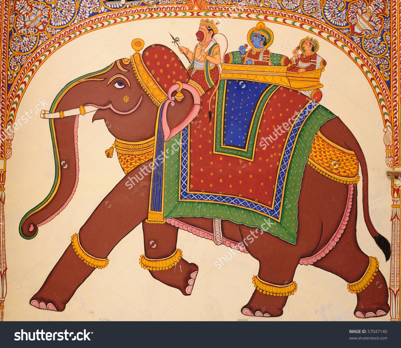 Frescoed Havelis Shekhawati Traditional Ornately Decorated Stock.