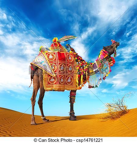 Stock Photo of Camel in desert. Camel fair festival in India.