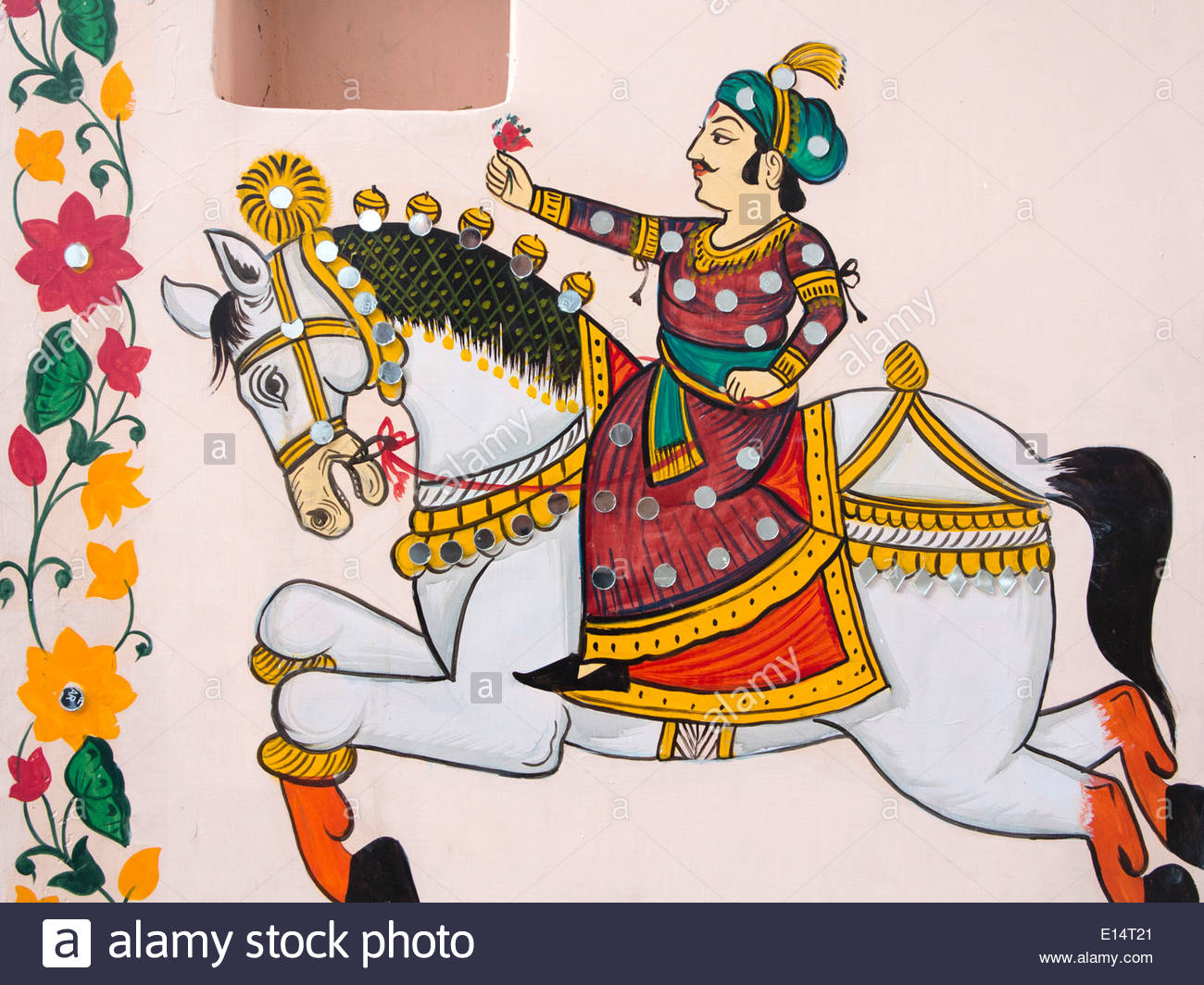 India, Rajasthan, Udaipur, Rajasthani Folk Art, Wall Painting Of.