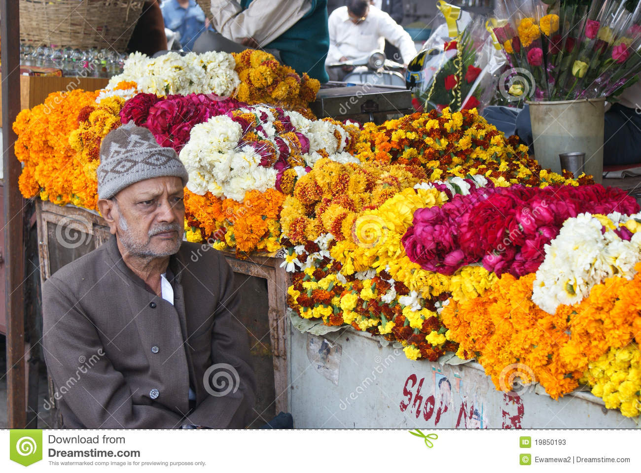 Selling Flowers At The Market, Rajasthan Editorial Stock Photo.