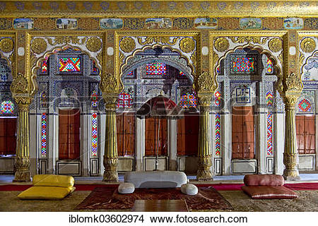 "Stock Photo of ""Phul Mahal, Flower Palace, Throne Room, Mehrangarh."