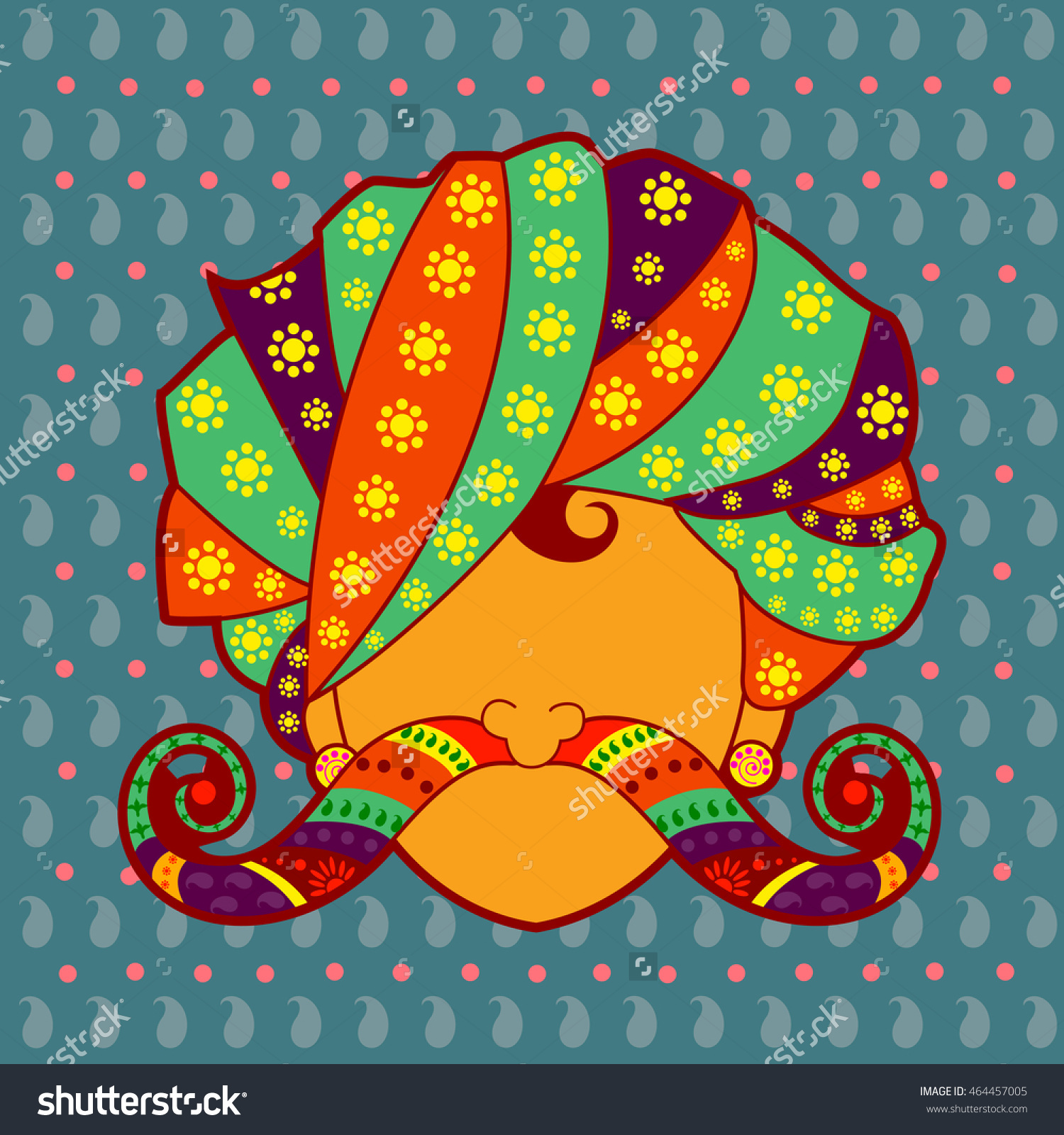 Vector Design Rajasthani Man Turban Moustache Stock Vector.