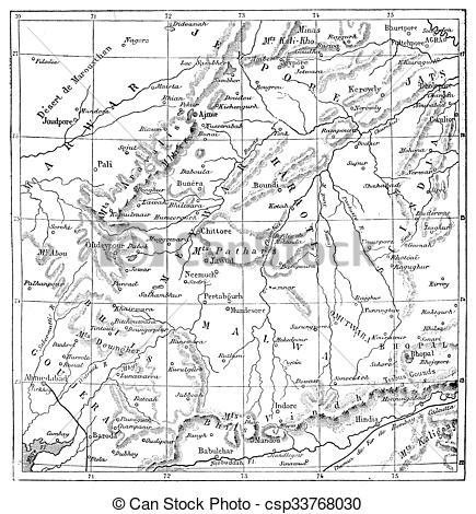 Drawings of Map of Rajputs States (Western Rajasthan), vintage.