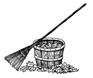 Picture of a Rake and Basket of Leaves.
