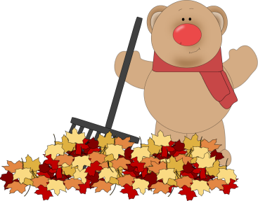 Kids rake leaves clipart.