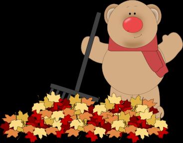 Kids rake leaves clipart.