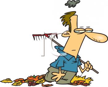 Funny Raking Leaves Clipart.