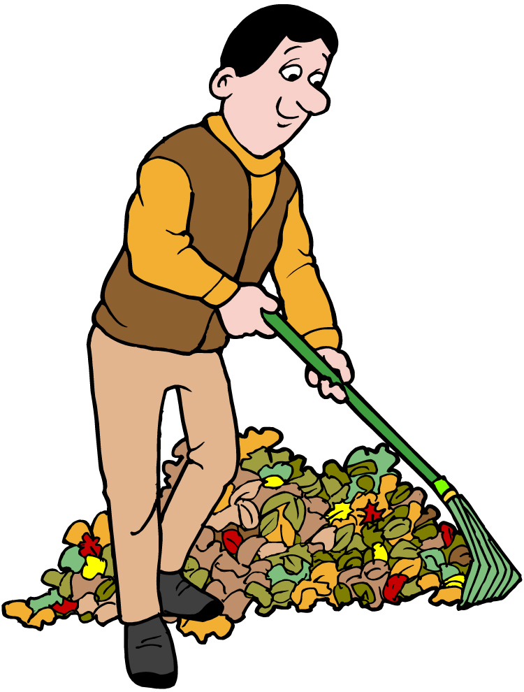 Raking Leaves Clipart.
