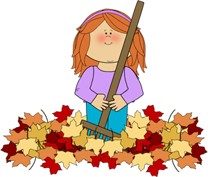 Girl Raking Leaves Clip Art.