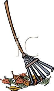 Art Image: A Rake with Autumn Leaves.
