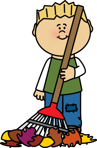 Funny Raking Leaves Clipart.