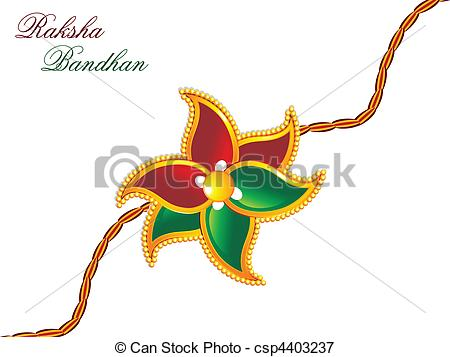Clipart Vector of raksha bandhan theme rakhi vector illustration.