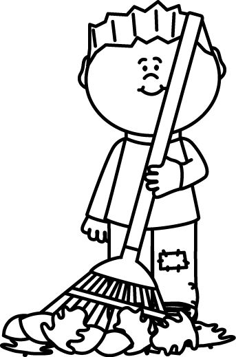 Raking Leaves Clipart Black And White Clipground