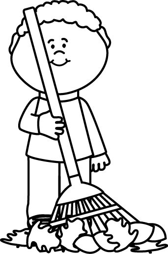 Raking Leaves Clipart Black And White.