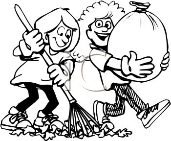 Black and White Cartoon of Friends Helping Each Other Rake Leaves.