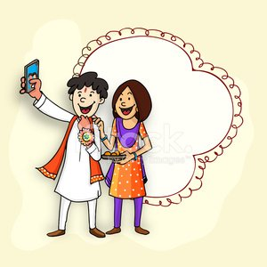 Brother and sister for Raksha Bandhan celebration. Clipart.