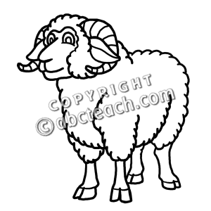 Clip Art: Cartoon Sheep: Ram.