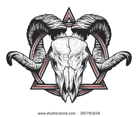Ram Skull With A Geometric Symbol. Dotwork Style. Stock Vector.