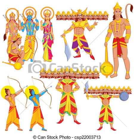 Vector Clip Art of Lord Rama, Laxmana, Sita with Hanuman in vector.