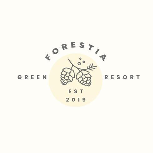 Green resort logo design vector.