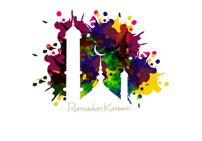 Mosque On Ramadan Kareem Card.