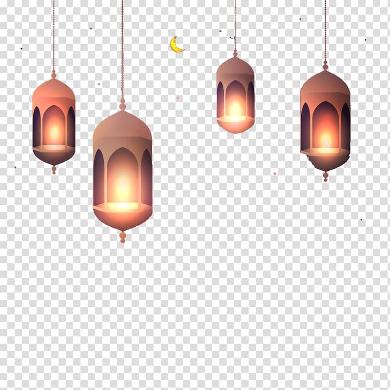 Four lighted pendant lamps illustration, Light Ramadan.