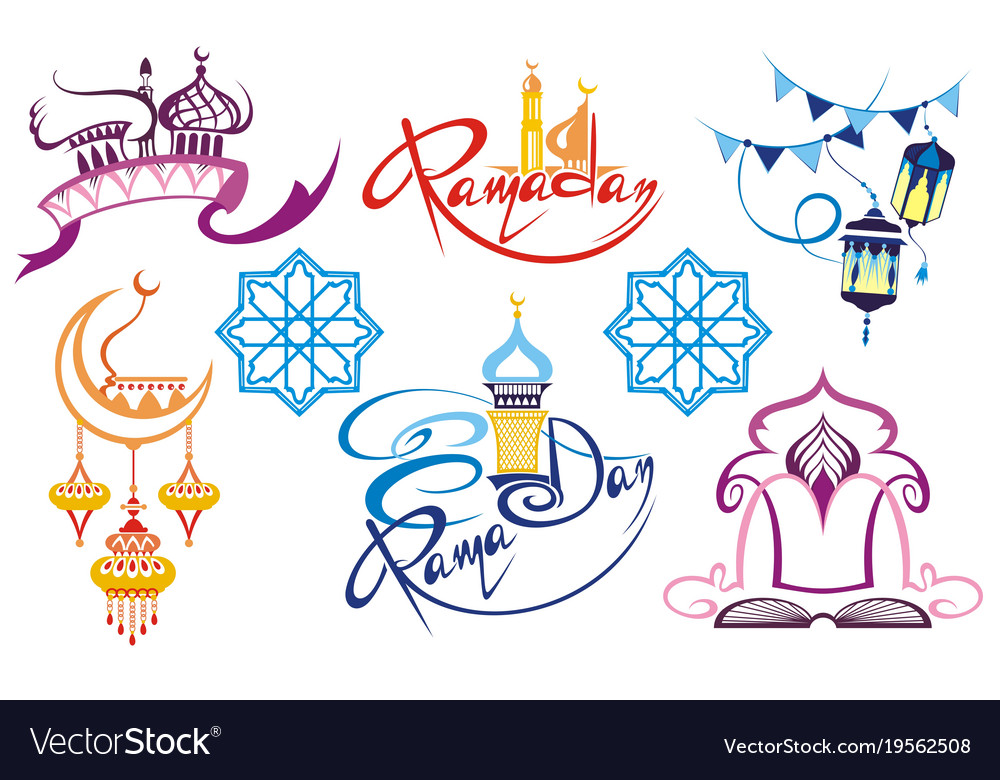 Set of emblems for islamic holy holiday ramadan.