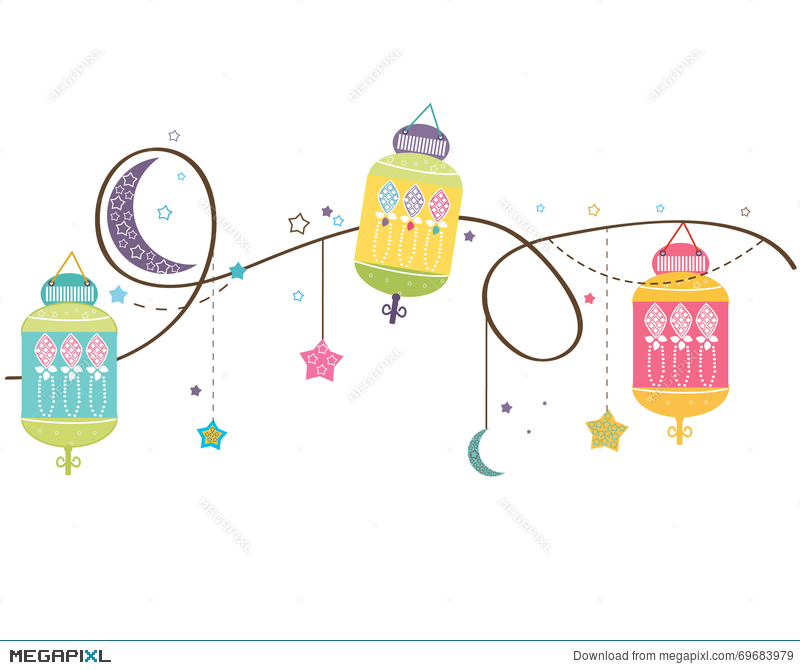 Ramadan Kareem With Colorful Lamps, Crescents And Stars.
