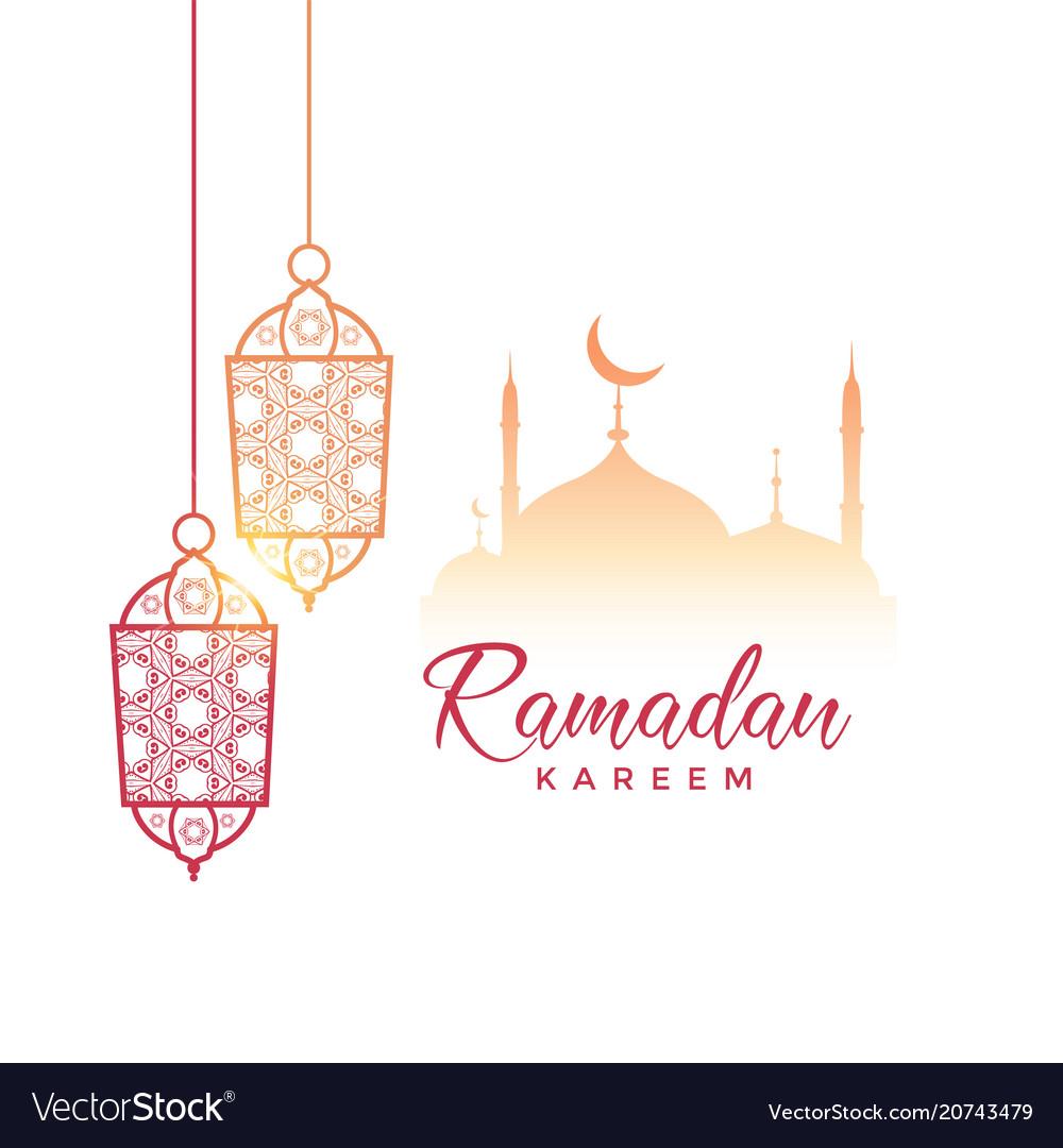 Ramadan kareem greeting design with hanging lamps.