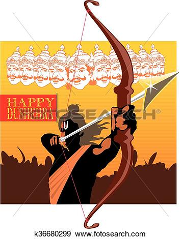 Clip Art of Ram Shooting Arrow from ramayana k36680299.