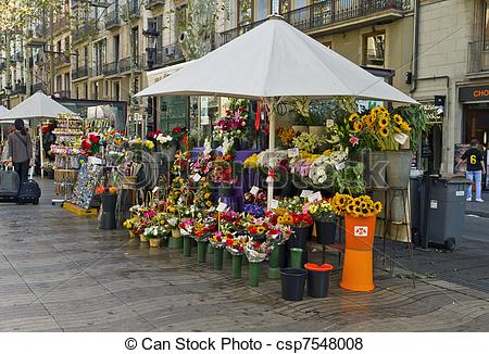 Pictures of Barcelona Rambla of flowers, stop selling flowers.