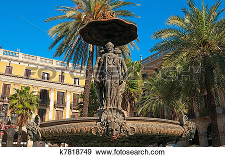 Stock Photograph of Fountain at Plaza Real. Plaza Real (Plaça.