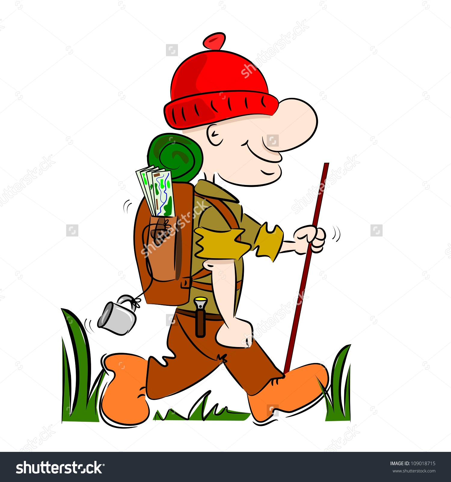 Cartoon Hiker Rambler Going Camping Rucksack Stock Vector.