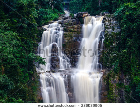 Majestic Waterfall Ramboda Symbol Of Sri Lanka Stock Photo.