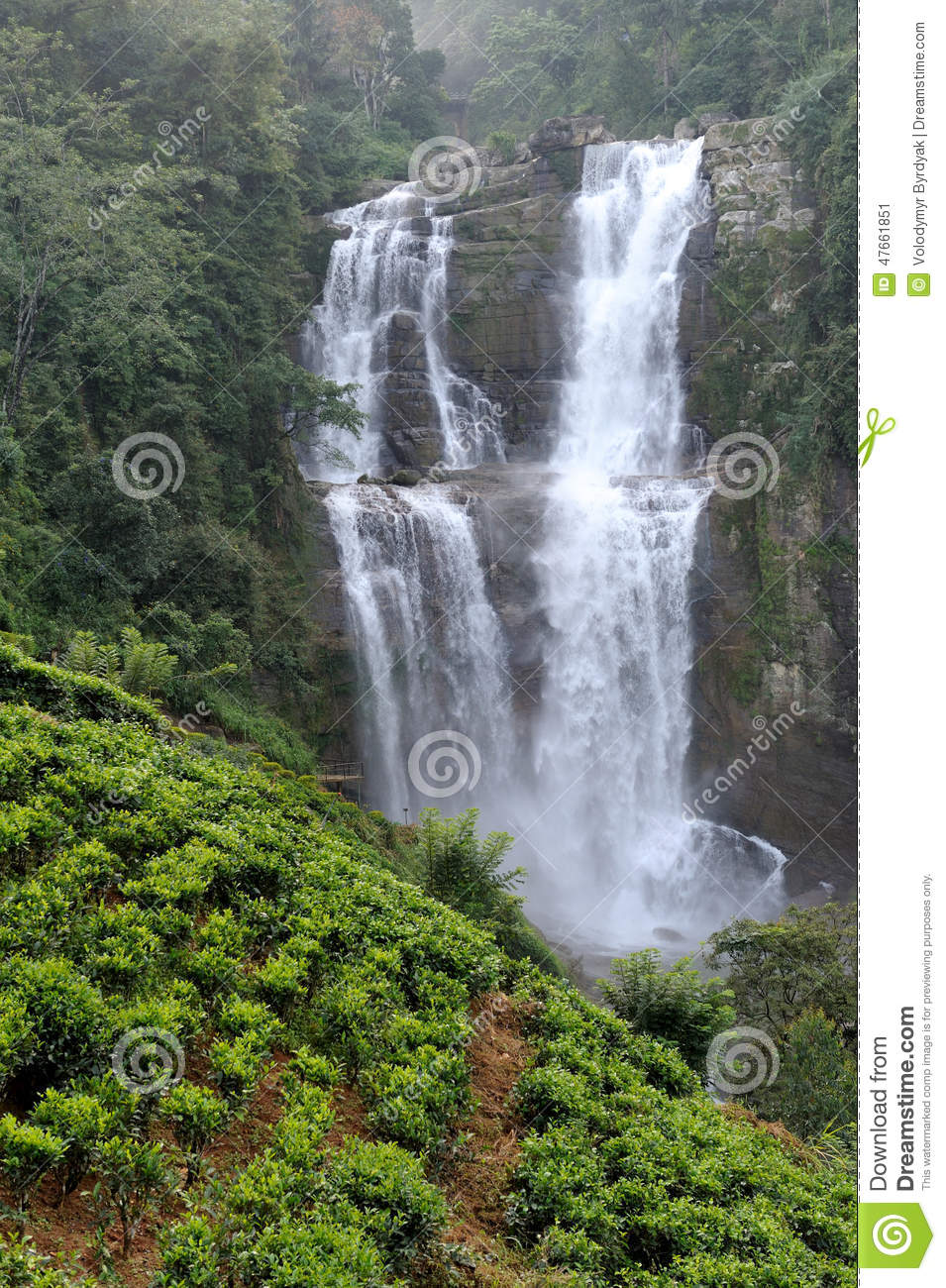 Ramboda Falls In Sri Lanka Stock Photo.
