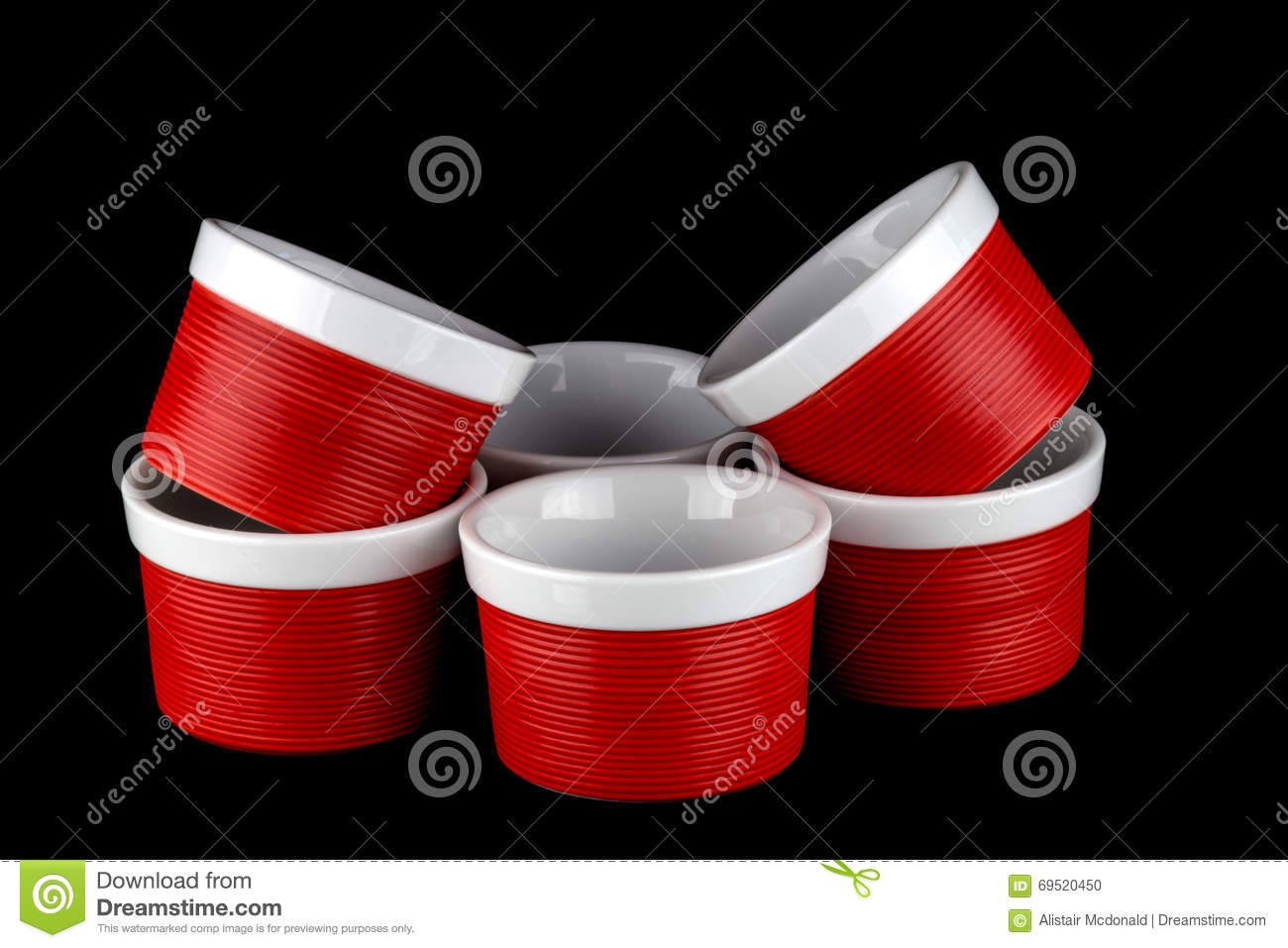 Red And White Ramekins Isolated On Black Stock Photo.