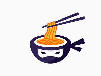 Ninja Ramen Logo Design Version #01 by R A H A J O E on Dribbble.