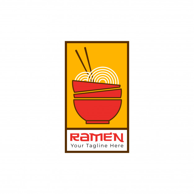 Ramen noodle logo template Vector.