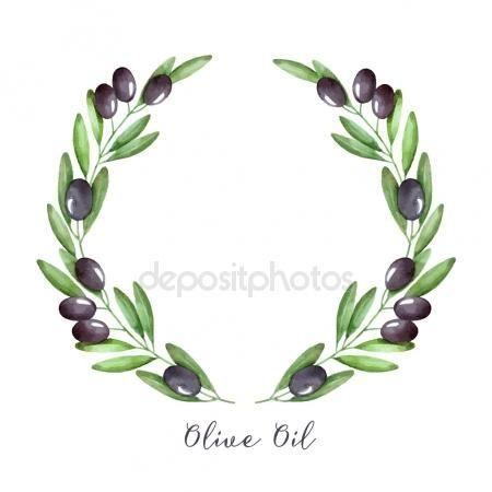 Coroa de flores em aquarela de ramo de Oliveira. Molduras de.