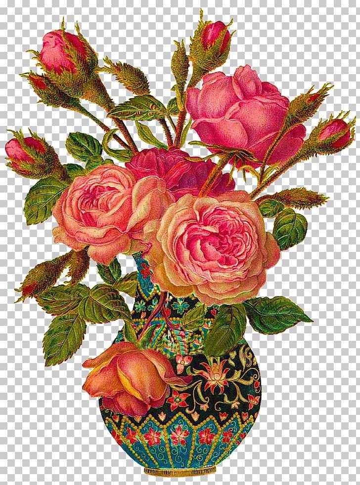 Flores rojas con ilustración de florero, ramo de flores.